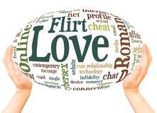 Conce online della sfera della mano della nuvola di parola del flirt romanzesco di amore di amore della data royalty illustrazione gratis