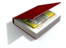 Concealed Australian Dollar Bank Notes In A Book Front. A red hardback book with a cutaway area in the pages concealing a stack of fifty australian dollar bank Royalty Free Stock Photography