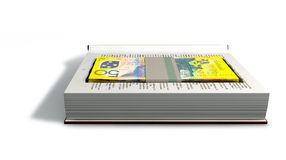 Concealed Australian Dollar Bank Notes In A Book Front. A red hardback book with a cutaway area in the pages concealing a stack of fifty australian dollar bank Stock Photos
