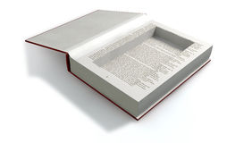 Concealed Cavity In A Book Front. A red hardback book with an empty cut away cavity in the pages for concealing something on an isolated background Stock Image