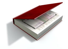 Concealed Euros In A Book Front. A red hardback book with a cutaway area in the pages concealing a stack of five hundred euro notes on an isolated background Royalty Free Stock Image