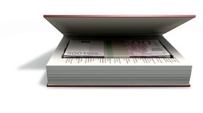 Concealed Euros In A Book Front. A red hardback book with a cutaway area in the pages concealing a stack of five hundred euro notes on an isolated background Stock Photos