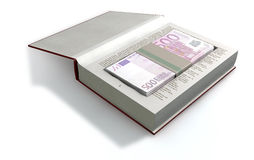 Concealed Euros In A Book Front. A red hardback book with a cutaway area in the pages concealing a stack of five hundred euro notes on an isolated background Royalty Free Stock Photography