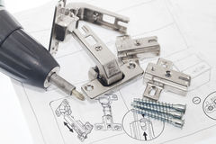 Concealed hinge mounting instruction Stock Photos