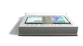 Concealed Rand In A Book Front. A red hardback book with a cutaway area in the pages concealing a stack of south african rand notes on an isolated background Stock Photos