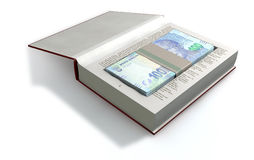 Concealed Rand In A Book Front. A red hardback book with a cutaway area in the pages concealing a stack of south african rand notes on an isolated background Royalty Free Stock Photo