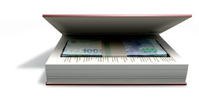 Concealed Rands In A Book Front. A red hardback book with a cutaway area in the pages concealing a stack of south african rand notes on an isolated background Stock Images