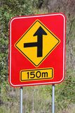 Concealed Road Warning Side 150m 1 Royalty Free Stock Photography
