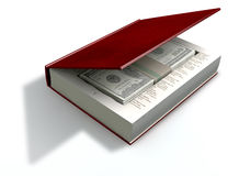 Concealed US Dollar Notes In A Book Front. A red hardback book with a cutaway area in the pages concealing a stack of one hundrred US dollar bills on an isolated Royalty Free Stock Image