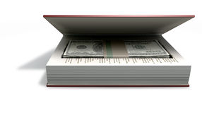 Concealed US Dollar Notes In A Book Front. A red hardback book with a cutaway area in the pages concealing a stack of one hundrred US dollar bills on an isolated Royalty Free Stock Photography