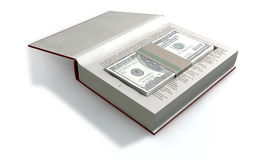 Concealed US Dollar Notes In A Book Front Stock Image