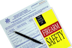 Concealed Weapon Permit Application and Safety  Brochure Stock Photo