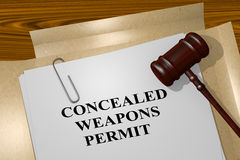 Concealed Weapons Permit - legal concept. 3D illustration of CONCEALED WEAPONS PERMIT title on legal document Royalty Free Stock Photos