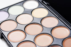 Concealer. Cosmetic foundation of different colours; corrector base Royalty Free Stock Images