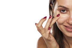 Concealer apply Royalty Free Stock Photography