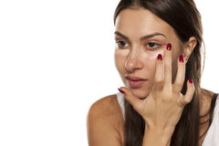 Concealer apply Royalty Free Stock Photo