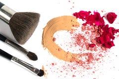Concealer blush lipstick. make-up cosmetics royalty free stock photo