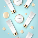 Concealer and compact foundation and a drop of the design template advertising cosmetics 3d. Top view on a blue. Background realistic illustration of a Royalty Free Stock Image