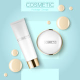 Concealer and compact foundation and a drop of the design template advertising cosmetics 3d. Top view on a blue. Background realistic illustration of a Stock Photography