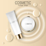Concealer and compact foundation and a drop of the design template advertising cosmetics 3d. Top view realistic. Illustration of a packaging design cream Royalty Free Stock Photography