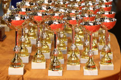Conceda a concessão dos troféus dos vencedores como um fundo Fotos de Stock