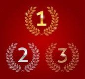 Concede emblemas de oro Imágenes de archivo libres de regalías