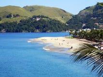 Conceicao de Jacarei Beach in Rio de Janeiro State. Green coast, tropical forest, river Royalty Free Stock Photography