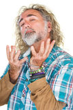 Conceited Man. Handsome conceited man with beard and open hands royalty free stock images