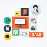 Conceito à moda da ilustração do vetor liso do projeto com ícones Imagem de Stock Royalty Free