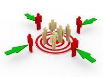 conceito 3d de visar clientes ilustração stock