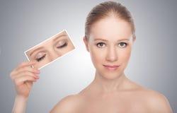 Conceito. abra os olhos das mulheres Imagens de Stock Royalty Free