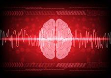 Conceito abstrato da onda de cérebro na tecnologia azul do fundo illus Imagens de Stock