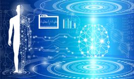 Conceito abstrato da tecnologia do fundo na luz, no cérebro e em h azuis ilustração royalty free
