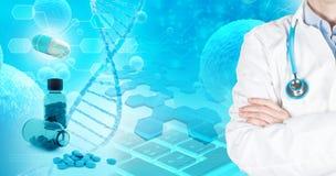 Conceito abstrato das aplicações farmacêuticas da pesquisa ilustração royalty free