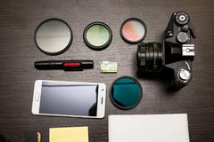 Conceito abstrato do local de trabalho moderno do fotógrafo imagens de stock royalty free