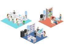 Conceito abstrato isométrico liso dos departamentos interiores do assoalho do escritório 3d Povos que trabalham nos escritórios ilustração royalty free