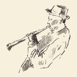 Conceito acústico da música do clarinete do cartaz do jazz Imagens de Stock