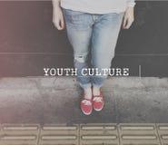 Conceito adolescente do divertimento da idade da cultura de juventude foto de stock