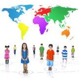 Conceito alegre da comunidade da infância das crianças do grupo Foto de Stock Royalty Free