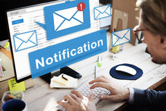 Conceito alerta do Internet do ícone de Digitas da notificação foto de stock royalty free