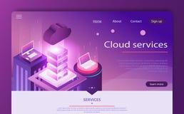 Conceito alta-tecnologia, centro de dados, vetor isométrico do armazenamento de dados da nuvem Conceito de computação da nuvem ilustração stock