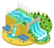Conceito alternativo isométrico das fontes de energia ilustração royalty free