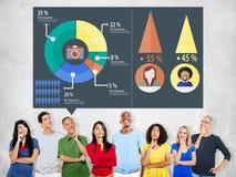 Conceito analítico do diagrama do gráfico da partilha de mercado da análise foto de stock