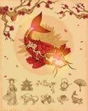 Conceito asiático da cultura ilustração stock