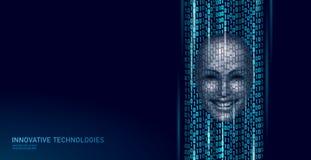 Conceito assistente em linha do computador virtual da voz Chatbot sadio do smartphone da empresa de serviços da ajuda do identifi ilustração stock