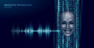 Conceito assistente virtual do negócio da tecnologia do serviço do reconhecimento de voz Ajuda do robô da inteligência artificial ilustração royalty free
