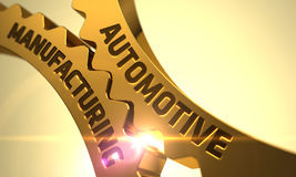 Conceito automotivo da fabricação Engrenagens metálicas douradas da roda denteada 3d Imagens de Stock