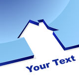 Conceito azul da forma da casa 3D Foto de Stock