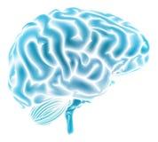 Conceito azul de incandescência do cérebro Fotos de Stock Royalty Free