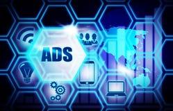 Conceito azul do modelo do fundo do ADS ilustração royalty free